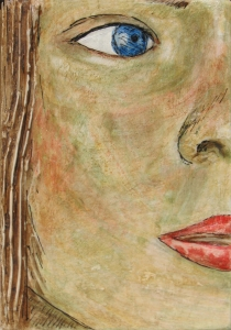 Anna #08. Egg tempera over a presculpted relief on wood panel. 9 x 12.7 cm or 3 1/2 x 5 inches.