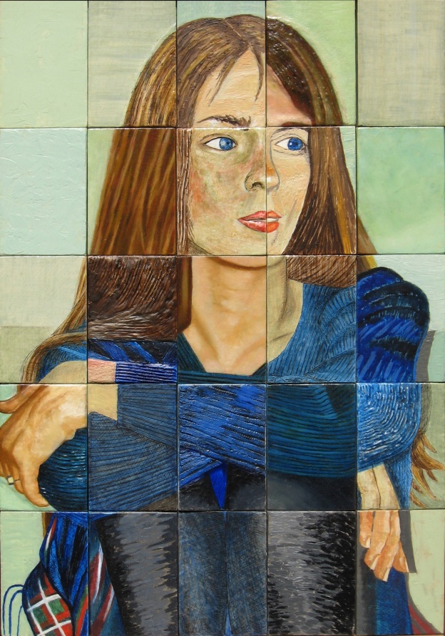 Anna Front. A mixed media painting on panels. 44.5 x 63.5 cm or 17.5 x 25 in.