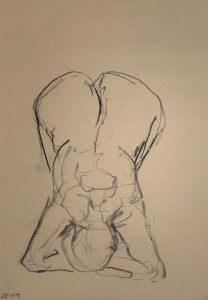 Charcoal on tinted sketching paper, 35 x 50 cm or 13.75 x 19.75 in.