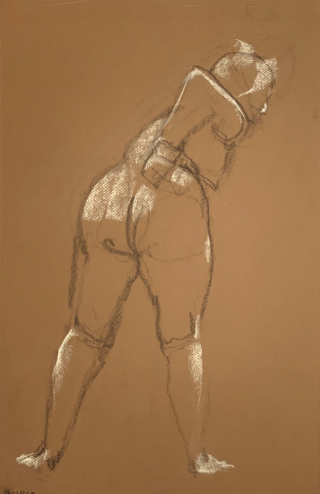 Conté crayon on tinted Canson paper, 32.5 x 50 cm or 13 x 19.75 in.