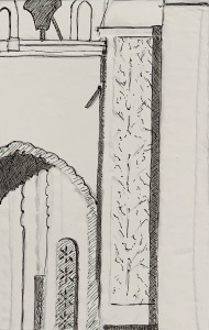 A Piece of Me #08, india ink underdrawing over collage,