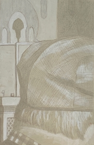 Panel #01, silverpoint underdrawing over tinted gesso, highlight with white. 13.3 x 21 cm or 5 1/4 x 8 1/2 in.