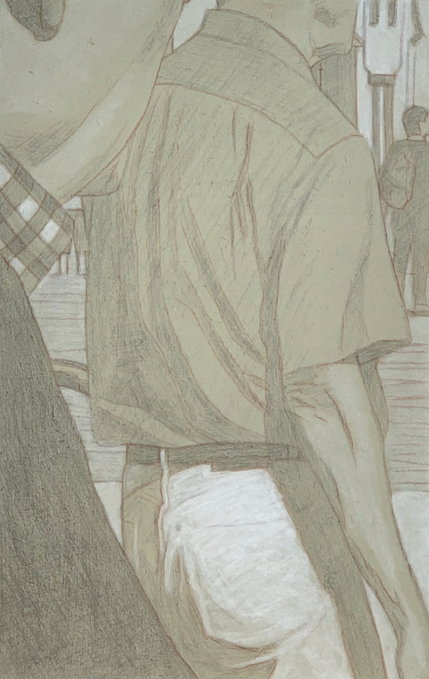 Silverpoint over tinted acrylic gesso ground, highlighted with (acrylic) titanium white. 13.3 x 21 cm or 5 /1/4 x 8 1/2 in.