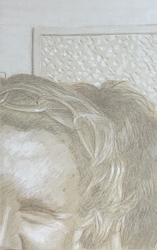 Silverpoint underdrawing on toned gesso ground. 13.3 x 21 cm or 5 1/4 x 8 1/2 in.